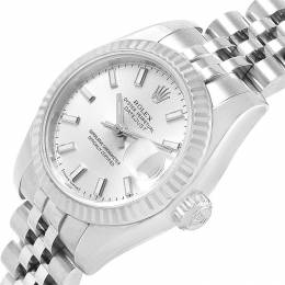 Rolex Silver 18K White Gold and Stainless Steel Datejust 179174 Women's Wristwatch 26MM 219109