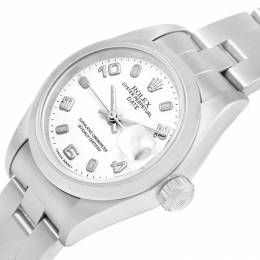 Rolex White Stainless Steel Date 69160 Women's Wristwatch 26MM 219075