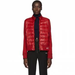 Moncler Red Knit Down Logo Jacket E20938462100V8080