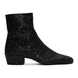 Saint Laurent Black Glitter Caleb Zippered Boots 5819531G000