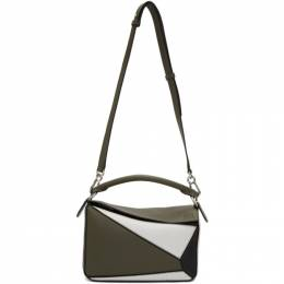 Loewe Green and White Small Puzzle Bag 192677F04811601GB