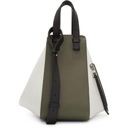 Loewe Green and White Small Hammock Bag 192677F04810701GB