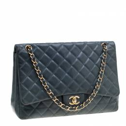 Chanel Blue Quilted Lambskin Leather Classic Maxi Single Flap Bag 200998