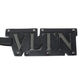 Valentino Black Leather VLTN Studded Bag Charm 218518