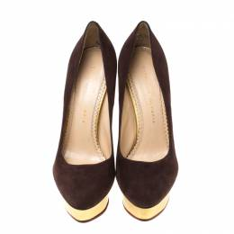 Charlotte Olympia Dark Brown Suede Dolly Platform Pumps Size 39.5 217659