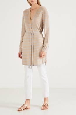 Серо-бежевое платье в полоску Allude 1888147481