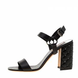 Valentino Black Leather Rockstud Spike Block Heel Sandals Size 38 220262