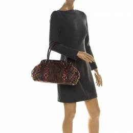 Etro Multicolor Paisley Coated Canvas,Croc Embossed Leather and Fabric Frame Satchel 218383