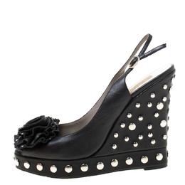 Valentino Black Leather Rose Appliquè Studded Wedge Slingback Sandals Size 38 218647