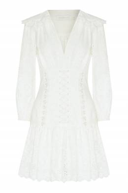 Белое платье с ажурной отделкой Zimmermann 1411137402