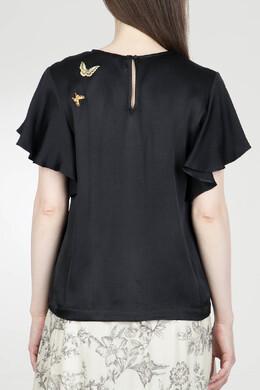 Черная блуза с коротким рукавом Twin-set 1506143448