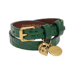 Alexander McQueen Green Croc Double Wrap Skull Bracelet 192259F02000601GB