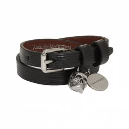 Alexander McQueen SSENSE Exclusive Black Mechanical Double Wrap Skull Bracelet 192259F02001001GB