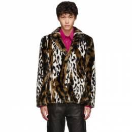 Neil Barrett Multicolor Leopard Faux-Fur Slim Jacket BCA303J M129