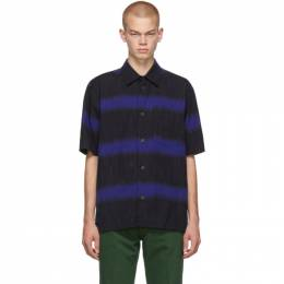 Issey Miyake Men Blue and Black Ikat Border Shirt 192728M19200105GB