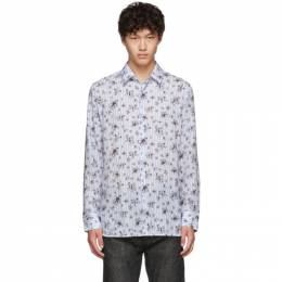 Neil Barrett Blue and White Striped Floral All-Over Shirt PBCM 1222 M042