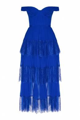 Плиссированное платье с кружевной отделкой Self-portrait 532148127