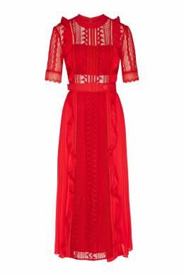 Платье красного цвета с оборками Self-portrait 532148139