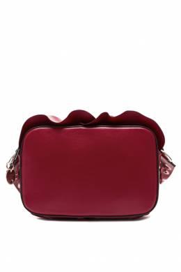 Бордовая кожаная сумка Rock Ruffles Red Valentino 986147043