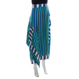 Diane Von Furstenberg Blue Striped Silk Asymmetric Saxon Skirt S 219684