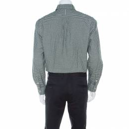 Ralph Lauren Green & White Checkered Cotton Classic Fit Shirt M 218944