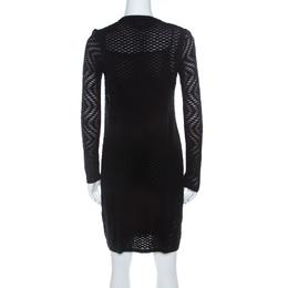M Missoni Black Perforated Knit Long Sleeve Sheath Dress S 218531