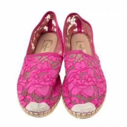 Valentino Pink Lace Espadrille Flats Size 40 219256