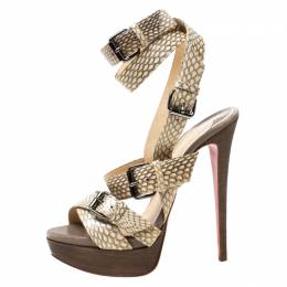 Christian Louboutin Beige Python Leather Criss Cross Strap Platform Sandals Size 38 219702
