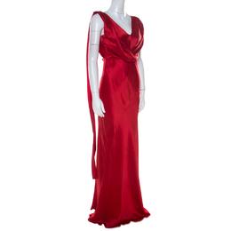 Alberta Ferretti Red Silk Bow Tie Detail Draped Evening Gown M 218920
