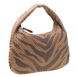 Bottega Veneta Brown Tiger Stripe Intrecciato Leather and Snakeskin Trim Medium Veneta Hobo 217721