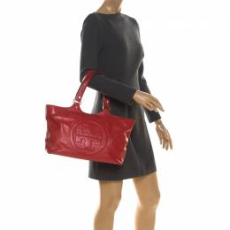 Tory Burch Red Leather Bombe Tote 217661