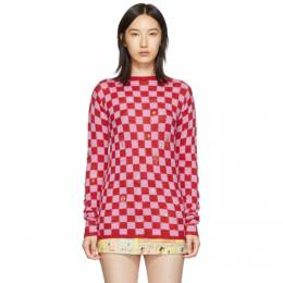 Marc Jacobs Red and Pink The Checkered Crewneck Sweater 192190F09600501GB