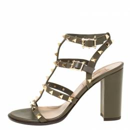 Valentino Olive Green Leather Rockstud Caged Sandals Size 37 218995