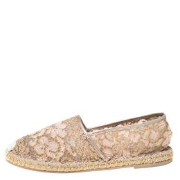 Valentino Metallic Pink Lace Espadrille Flats Size 40 219020