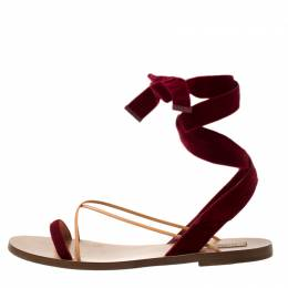 Valentino Maroon Velvet and Leather Open Toe Flat Ankle Wrap Sandals Size 40 218600
