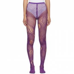 Junya Watanabe Purple Knit Mesh Tights 192253F07600201GB