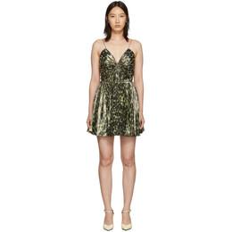 Saint Laurent Gold Leopard Metallic Pleated Short Dress 192418F05200203GB