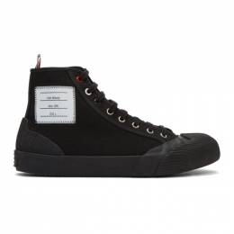 Thom Browne Black Vulcanized 4-Bar High-Top Sneakers MFB151B-01588