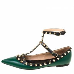 Valentino Green Leather Rockstud Ballet Flats Size 37 219247