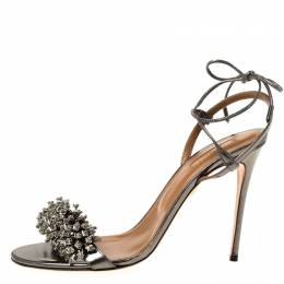 Aquazurra Metallic Grey Leather Embellished Ankle Wrap Open Toe Sandals Size 40 Aquazzura 219023