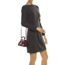 Salvatore Ferragamo Burgundy Leather Mini Sofia Crossbody Bag
