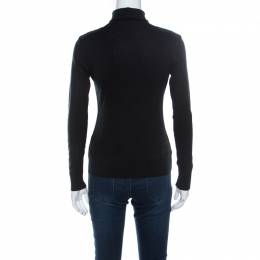 Ralph Lauren Black Cotton Stretch Knit Leather Trim Turtleneck Top S 219668