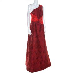 Monique Lhuillier Red Lace & Jacquard One Shoulder Evening Dress L 219698