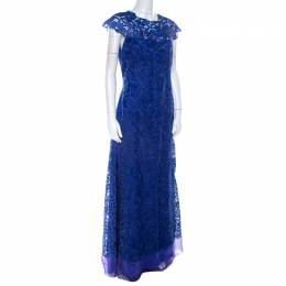 Tadashi Shoji Royal Blue Lace Cap Sleeve Milien Evening Dress M