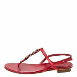 Gucci Red Leather Chain Strap Thong Sandals Size 36