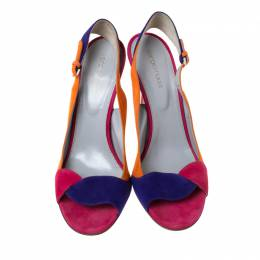 Sergio Rossi Multicolor Suede Open Toe Slingback Sandals Size 40 222096