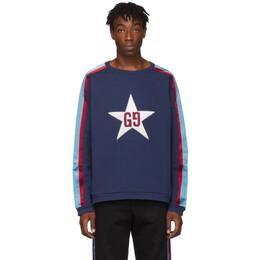 Gucci Blue GG Star Patch Sweatshirt 192451M20400406GB