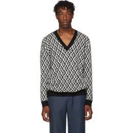 Gucci Black and White G Rhombus V-Neck Sweater 192451M20600606GB