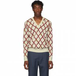 Gucci Off-White Wool V-Neck Sweater 192451M20600803GB