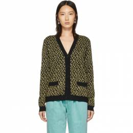 Gucci Black and Gold Lame G Cardigan 595659 XKA00